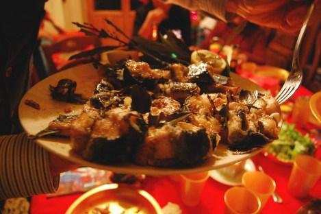 カピトーネ(雌の大鰻)料理
