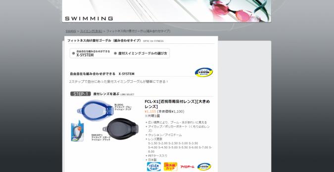フィットネス向け度付ゴーグル(組み合わせタイプ) SWANS【山本光学】