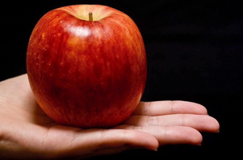 手のひらに乗せたりんご