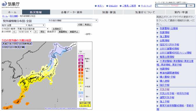 気象庁-紫外線情報