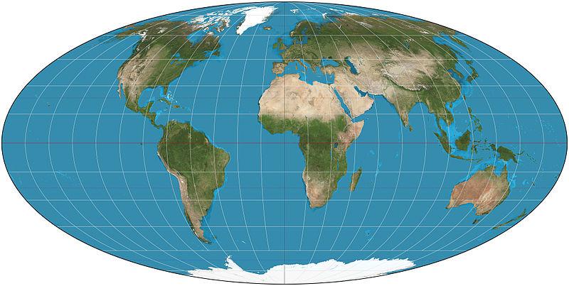 モルワイデ図法世界地図