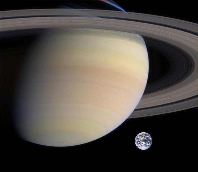 土星と地球